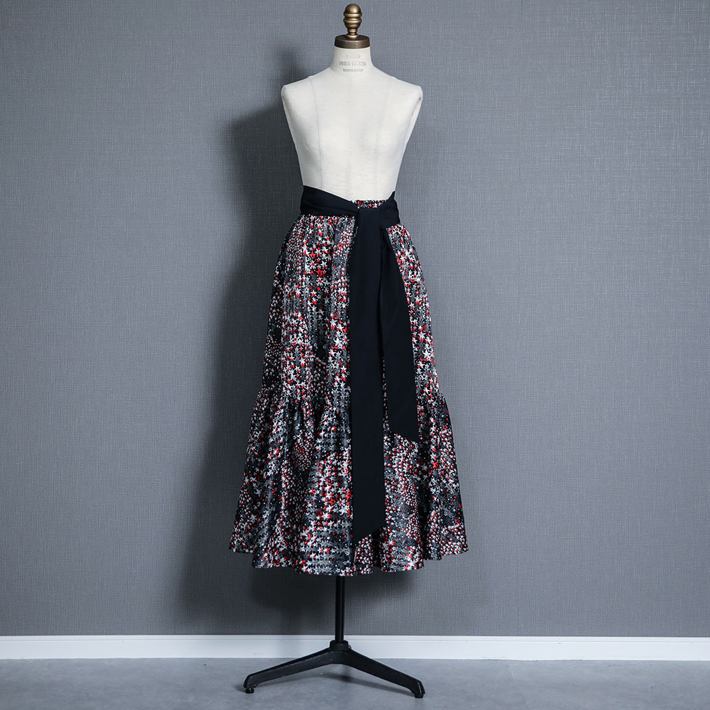 『fly me to the moon』 Tiered skirt NAVY画像