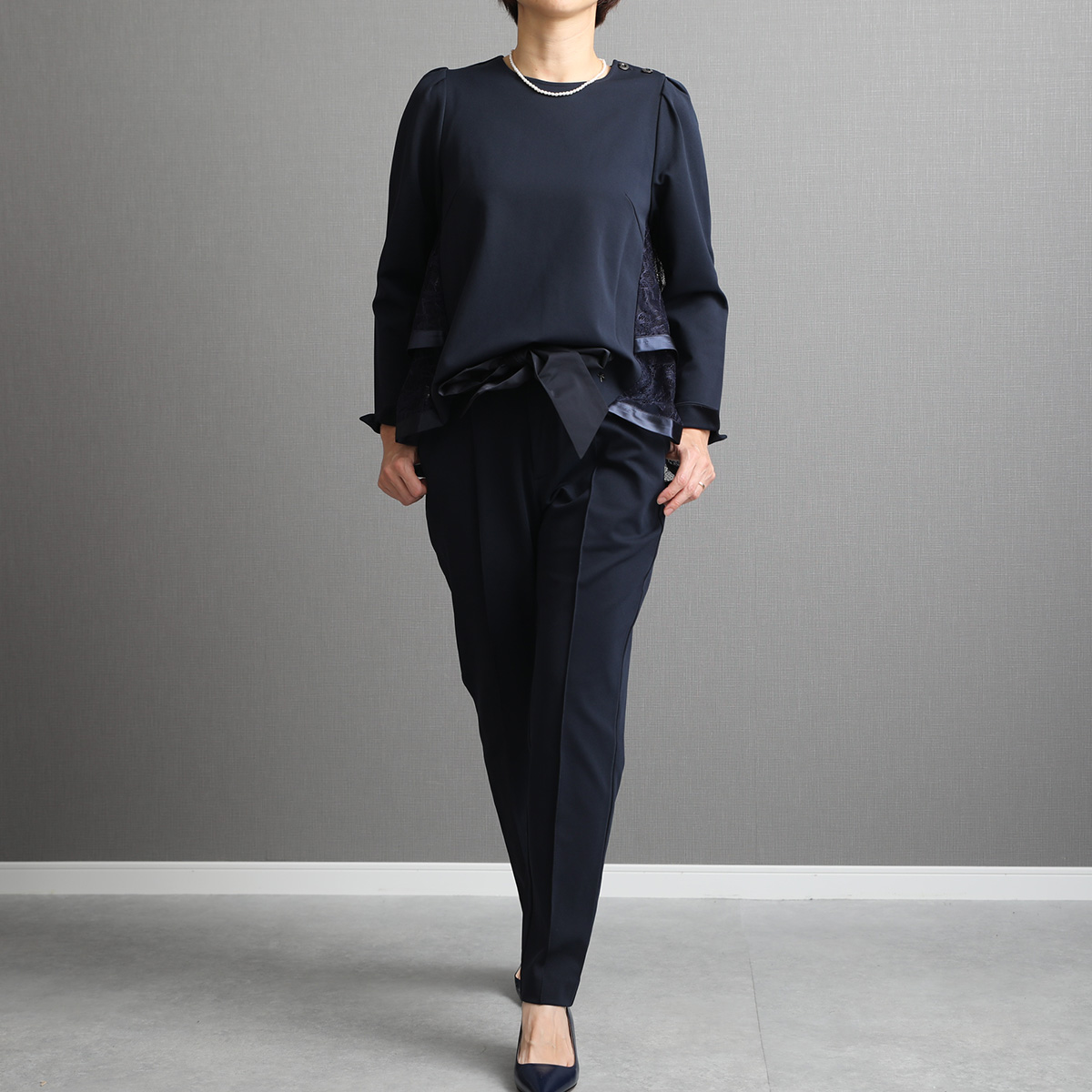 『Dress knit』 tapered Pants NAVY画像