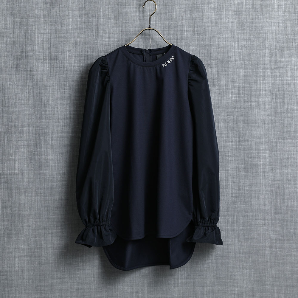 『Silky cotton』 Taffeta sleeve tee NAVY画像