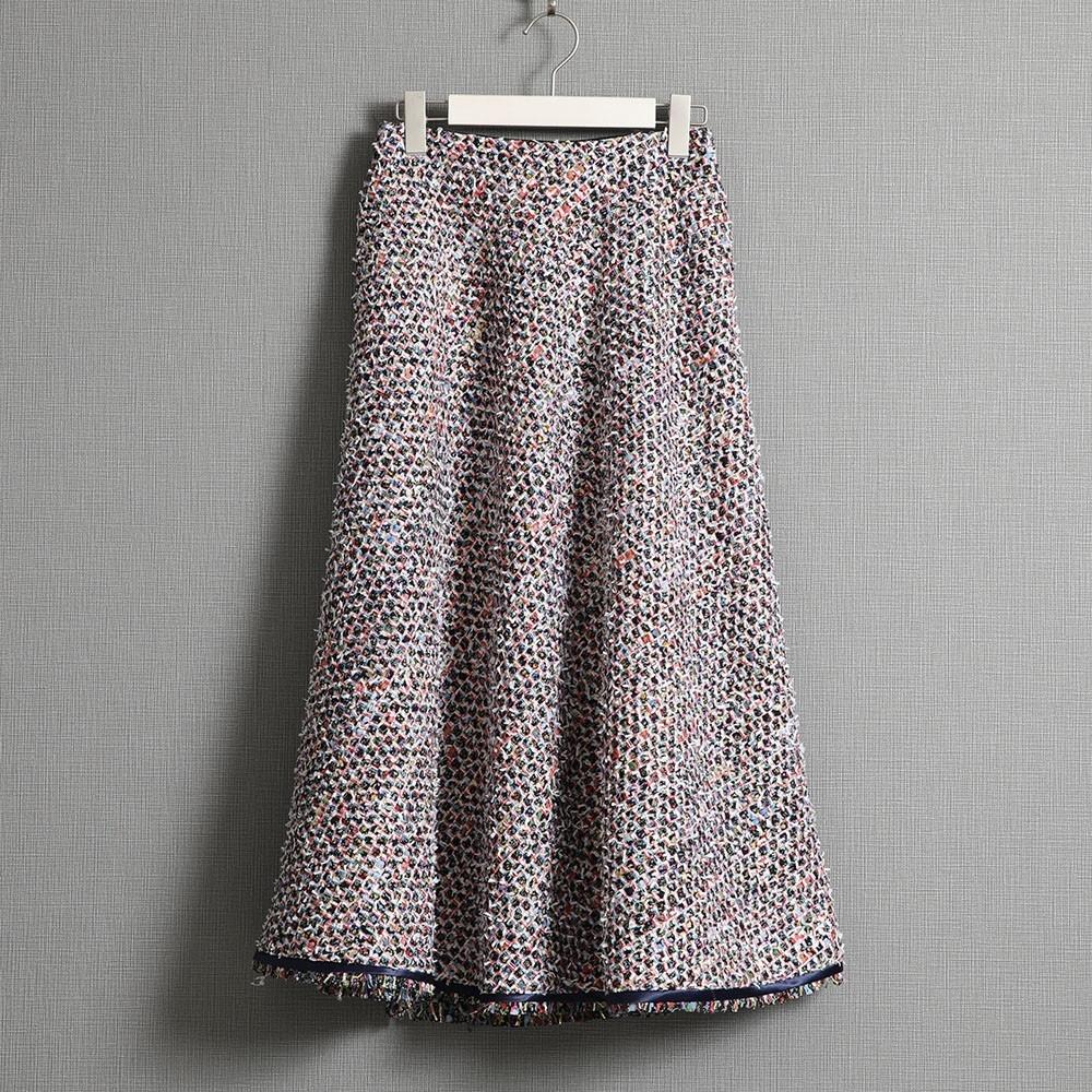 『Wreath tweed』 Circular skirt WHITE画像
