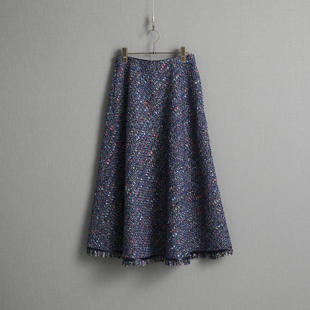 『Wreath tweed』 Circular skirt NAVY画像