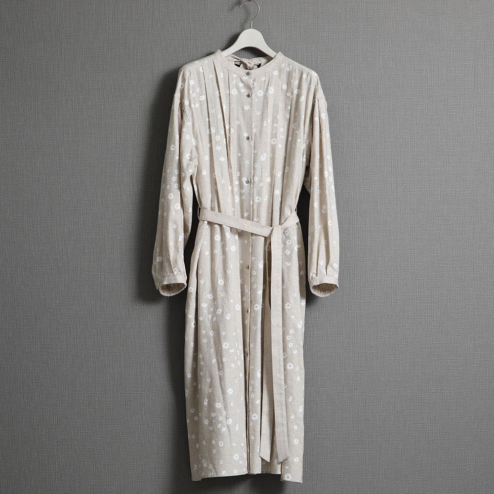『Bellis linen』 Long shirts dress NATURAL画像