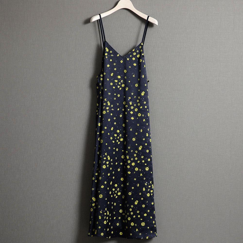 『Bellis satin』 Camisol dress NAVY画像