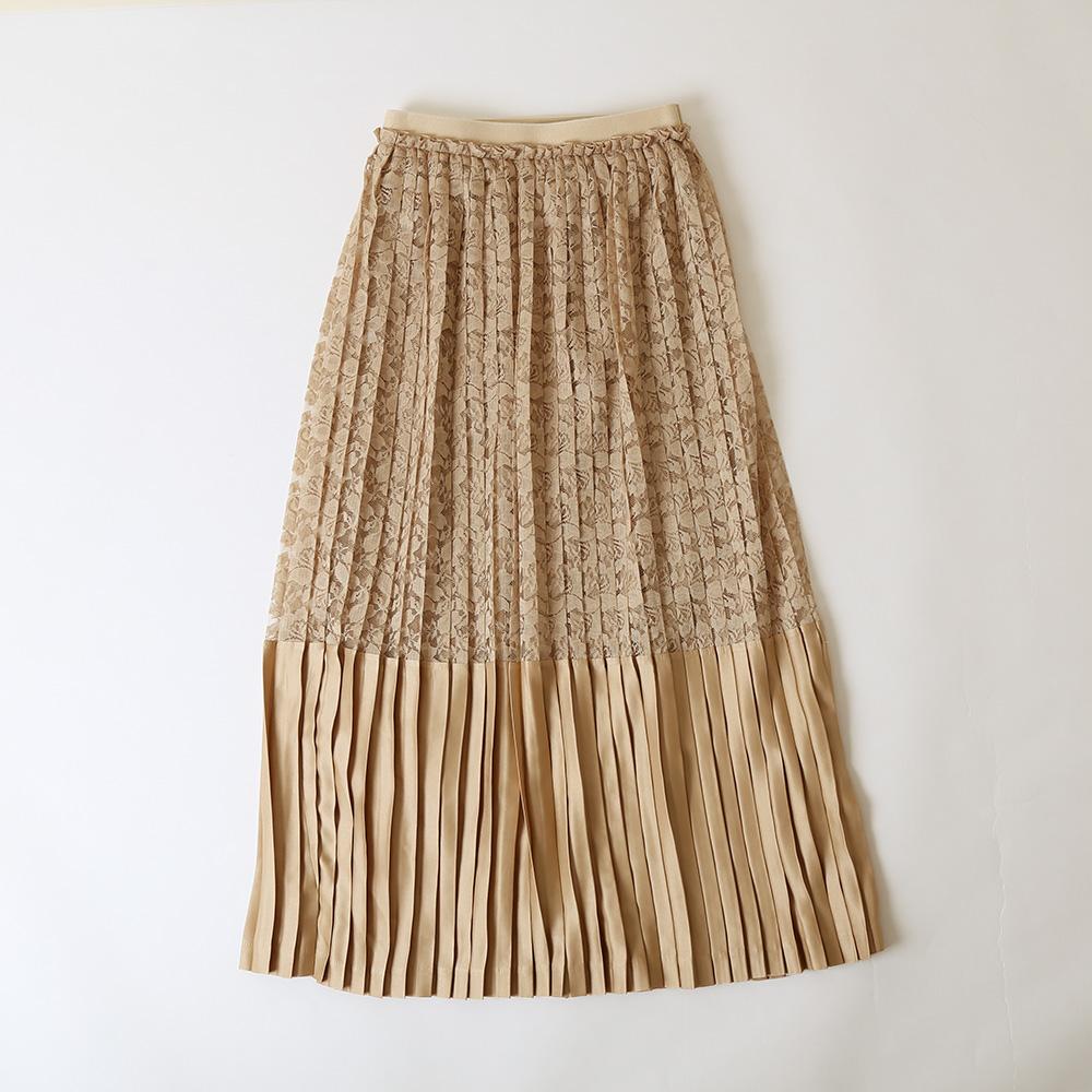 Lace & satin pleats skirtの画像