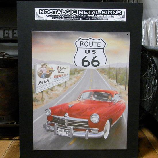 ルート66ブリキ看板  ティンサイン アメリカン雑貨の画像