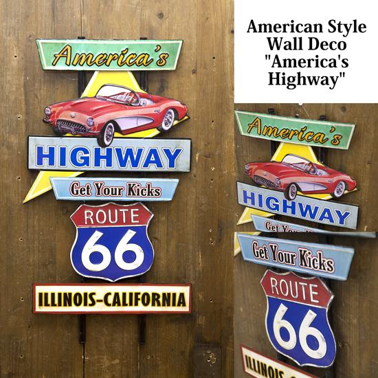 ハイウェイ アメリカンスタイル ウォールデコ ブリキ看板 アメリカン雑貨画像