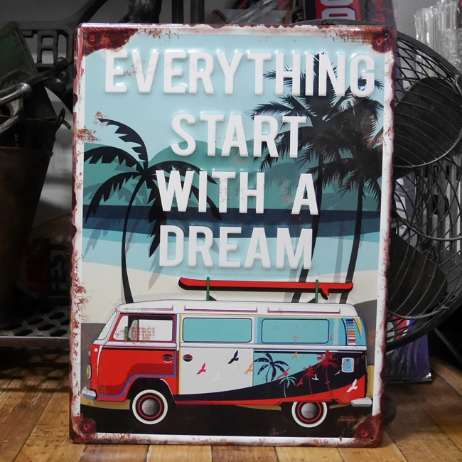 アンティーク エンボス プレート Dream ブリキ看板  ワーゲンバスティンサインアメリカン雑貨の画像