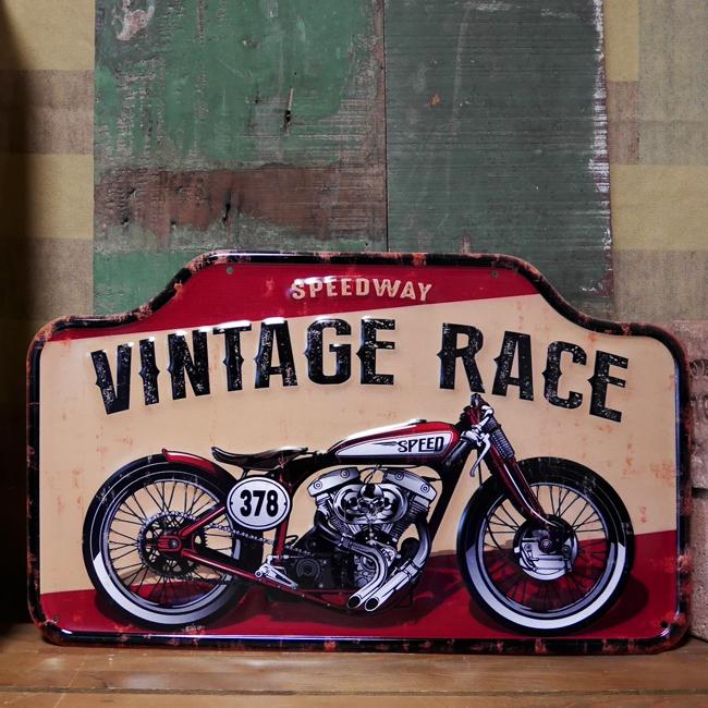 アンティーク エンボス プレート Vintage Race ブリキ看板 インテリア バイク オートバイ アメリカン雑貨の画像
