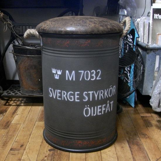ドラム缶チェア 収納ボックス ペール缶スツール アーミーインテリアの画像