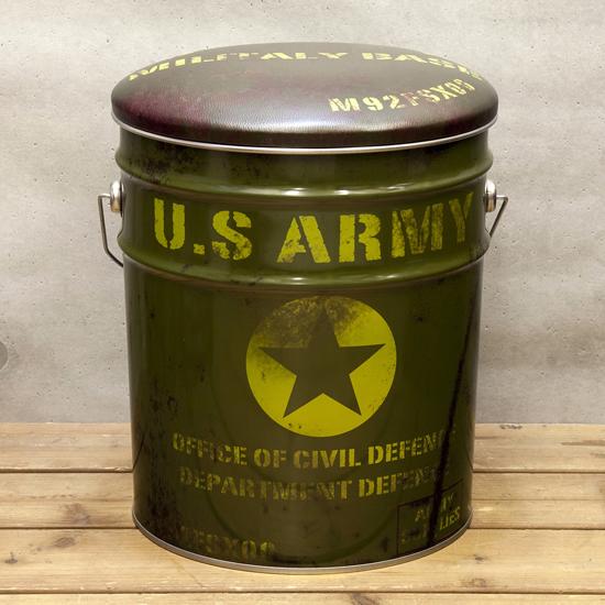 ペール缶スツール USアーミー 収納ボックス  アメリカン雑貨の画像