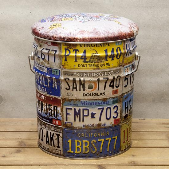 ペール缶スツール ナンバープレート 収納ボックス  アメリカン雑貨の画像