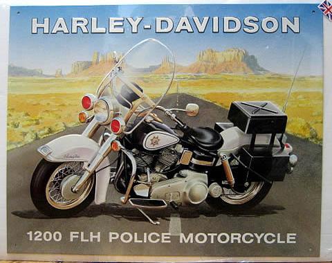 ハーレーダビッドソンポリス ブリキ看板 ティンサイン アメリカン雑貨の画像
