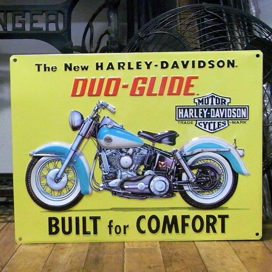 ハーレーダビッドソン デュオグライド エンボスブリキ看板 ティンサイン アメリカン雑貨の画像