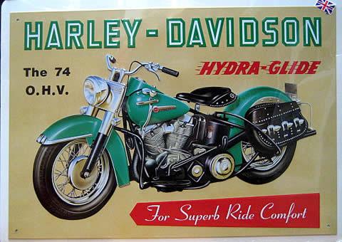 ハーレーダビッドソン HYDRA GLIDE ブリキ看板 ティンサイン アメリカン雑貨の画像