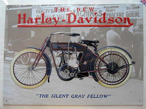 ハーレーダビッドソン OLD GRAY FELLOW  ブリキ看板 ティンサイン アメリカン雑貨の画像