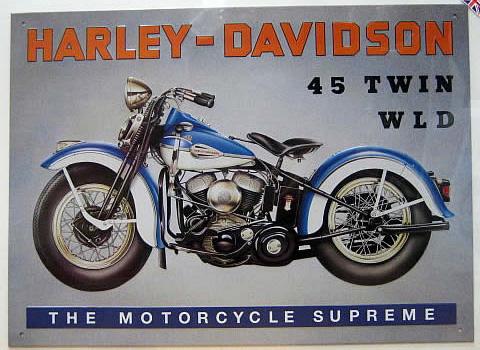 ハーレーダビッドソン HARLEY W.L.D  ブリキ看板 ティンサイン アメリカン雑貨の画像