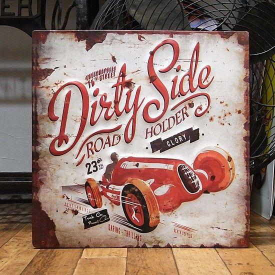エンボスブリキ看板 dirty side ティンサイン アメリカン雑貨の画像