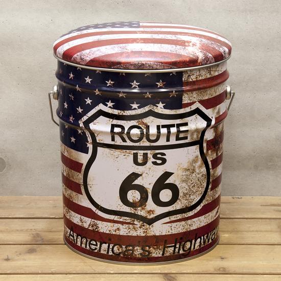 ペール缶スツール USルート66 収納ボックス  アメリカン雑貨の画像