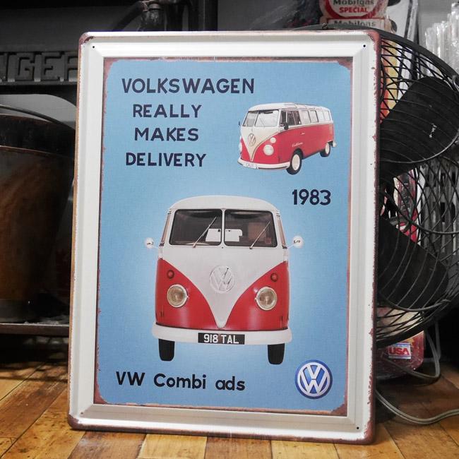 フォルクスワーゲンバスブリキ看板  ティンプレート VW  アメリカン雑貨の画像