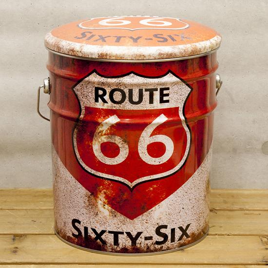 ペール缶スツール ルート66オレンジ 収納ボックス  アメリカン雑貨の画像