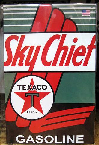 オイルメーカーブリキ看板 テキサコSky Chief ティンサイン アメリカン雑貨の画像