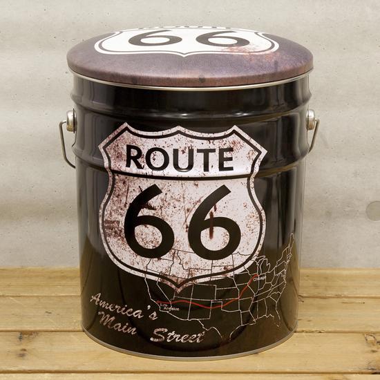 ペール缶スツール ルート66ブラック 収納ボックス  アメリカン雑貨画像