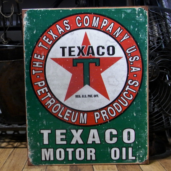 オイルメーカーブリキ看板 テキサコ ティンサイン アメリカン雑貨の画像