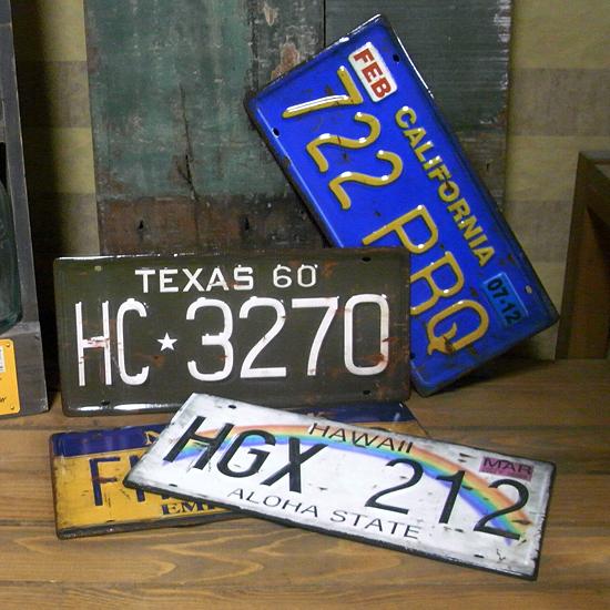 アンティークタイプナンバープレート4枚セット ナンバープレート アメリカン雑貨画像