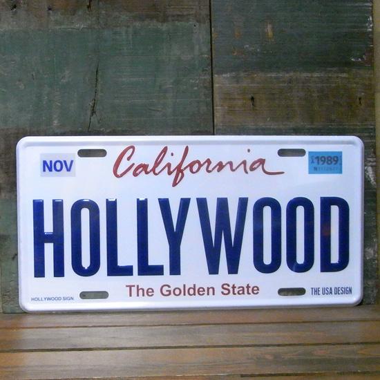 HOLLYWOOD カリフォルニア プレートナンバープレート アメリカン雑貨の画像
