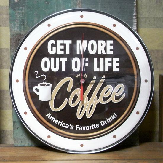 コーヒークロック COFFEE 掛け時計 カフェクロック アメリカンインテリアの画像