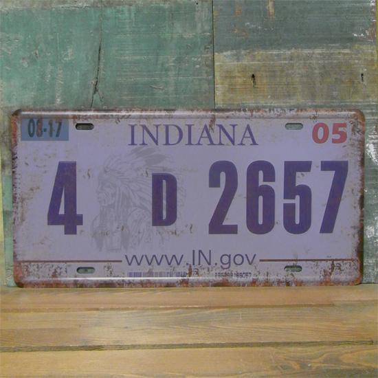 INDIANA プレート ナンバープレート アメリカン雑貨の画像