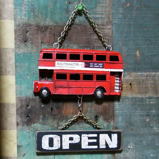 ロンドンバス サイン看板 ノスタルジックデコ 【オープン/クローズ】ブリキ看板 アメリカン雑貨の画像