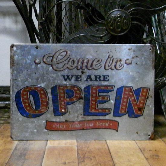 サイン看板 【オープン】ブリキ看板 アメリカン雑貨の画像