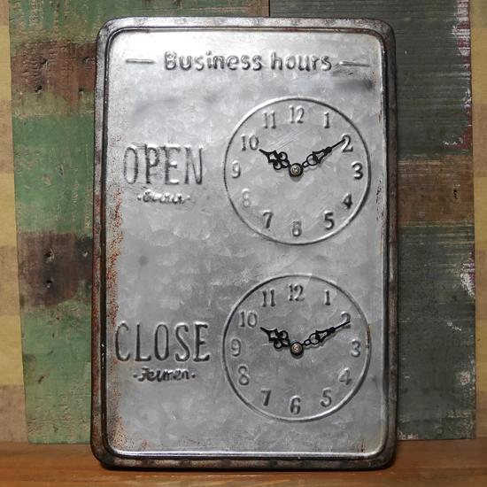 アンティーク調 ウォールプレート メタル OPEN CLOSE タイムアナウンスブリキ看板 アメリカン雑貨の画像