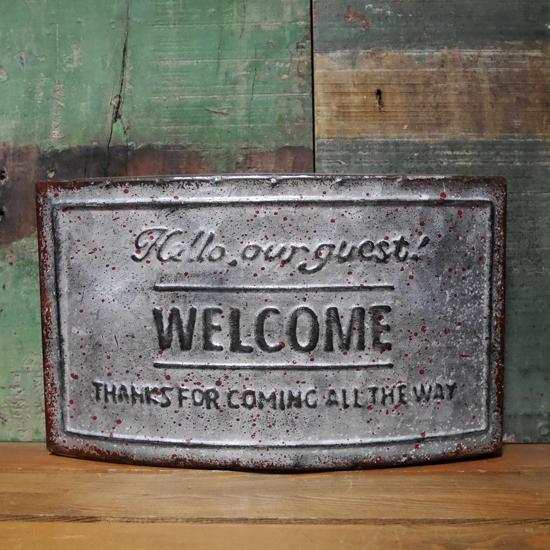 アンティーク調 ウェルカムプレート レクト WELCOME ウォールプレートブリキ看板 アメリカン雑貨の画像
