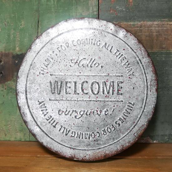 アンティーク調 ウェルカムプレート ラウンド WELCOME ウォールプレートブリキ看板 アメリカン雑貨の画像