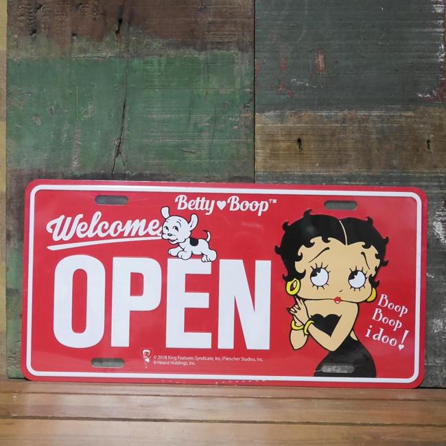 ベティ コマーシャルプレート【OPEN】アルミサインプレート Betty アメリカン雑貨画像