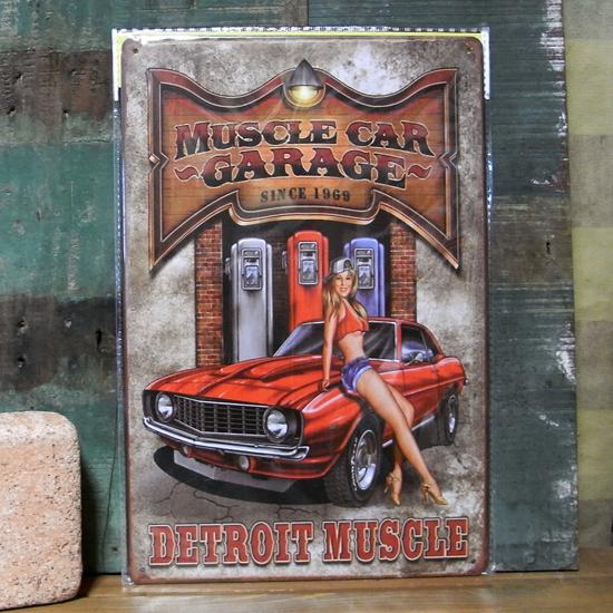 ブリキ看板【MUSCLE CAR】A4サイズ ティンサインプレート アメリカン雑貨の画像