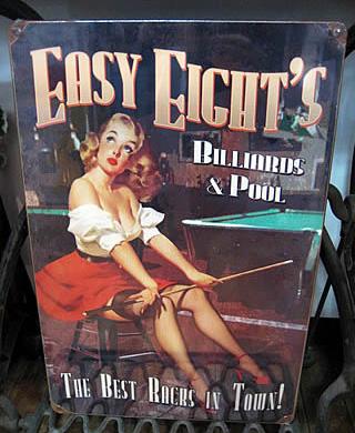 スティール看板【Easy Eights Pool】   ヴィンテージティンサインプレート アメリカン雑貨画像