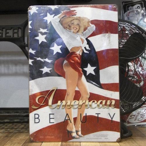 スティール看板【American Beauty】    ヴィンテージティンサインプレート アメリカン雑貨画像