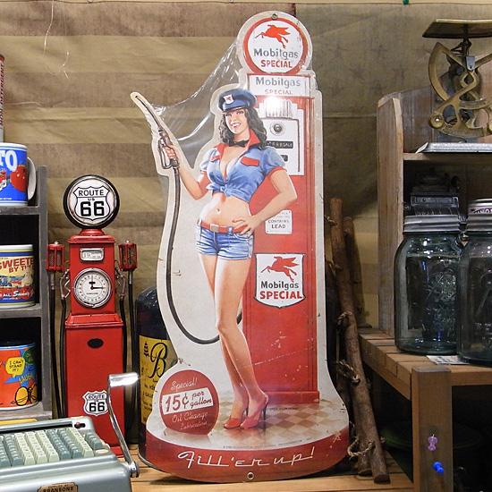 スティール看板【Mobilgas】 ヴィンテージティンサインプレート アメリカン雑貨の画像