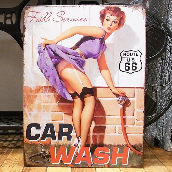 ブリキ看板【CAR WASH】 ヴィンテージティンサインプレート アメリカン雑貨の画像