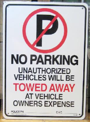 駐車禁止サインプレート プラスティックサイン看板 アメリカン雑貨の画像