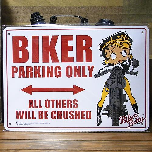 ベティ・ブープ バイカー専用パーキングプレート プラスティックサイン看板 アメリカン雑貨の画像