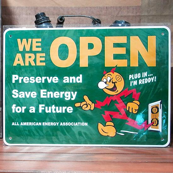 レディキロワットOPENサインプレート プラスティックサイン看板 アメリカン雑貨の画像