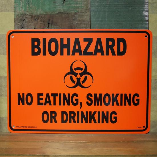 WARNING 警告サインプレート バイオハザードプラスティックサイン看板 アメリカン雑貨の画像