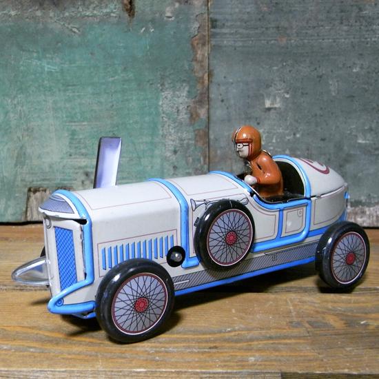 レーシングカーブリキのおもちゃ ブリキ製ゼンマイ自動車 アメリカン雑貨の画像