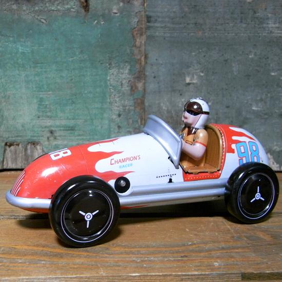 チャンピオンレーサーカー ブリキのおもちゃ ブリキ製ゼンマイ自動車 アメリカン雑貨の画像