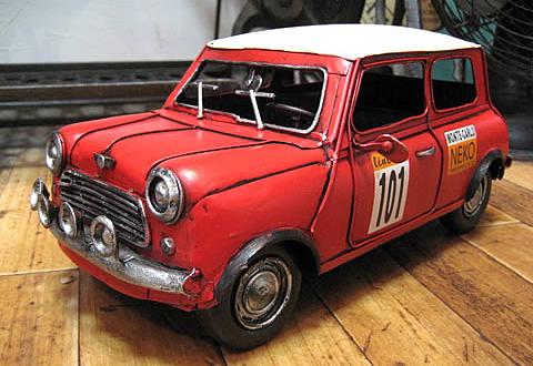 ミニクーパー ブリキのおもちゃ ブリキ製自動車 アメリカン雑貨の画像