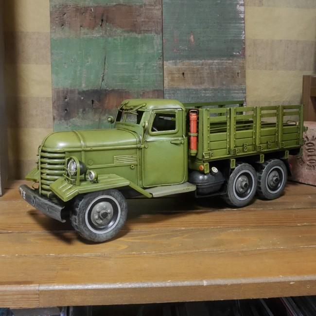 軍用車 トラック 自動車 レトロ インテリア ミリタリー ブリキ製自動車 アメリカン雑貨の画像